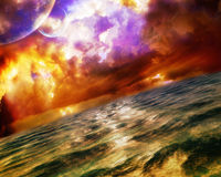 Wild Ocean. Is a high quality illustration designed for an album cover & never used. Sky filled with clouds, planets and birds Stock Images