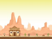 Wild, old west canyon background with sheriff vector illustration