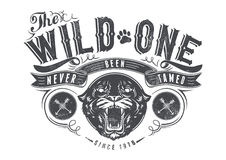 The wild one. Vector illustration ideal for printing on apparel clothes Royalty Free Stock Photos
