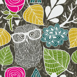 Wild owl in the autumn forest seamless pattern. Stock Photos