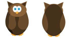 Wild owl in two projections. Animal for your design. Vector illustration. stock illustration