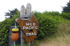 Wild pacific trail signpost Stock Photos