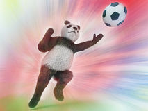 Wild panda goalie in the rapid jump trying to catch a soccer ball on a colorful watercolor background blurred. upright character B Stock Images