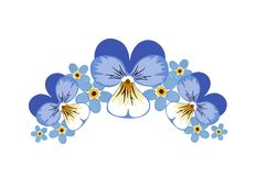 Wild pansy (viola) and forget-me-nots. Vector illustration of pansies (violas) and forget-me-not flowers, spring design elements. Additional vector format royalty free illustration