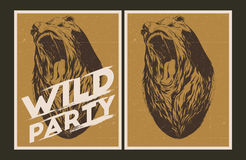 Wild party invitation template. Vector party Poster. Wild party invitation set Stock Photos