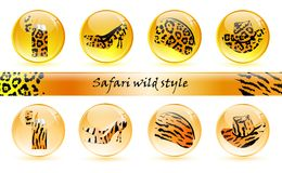 Wild pattern glossy balls. Set of different glossy balls with different object in it Royalty Free Stock Images