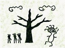 Wild people in forest. Dancing spirit stock illustration