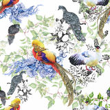Wild Pheasant animals birds in watercolor floral seamless pattern Stock Photo