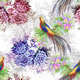 Wild Pheasant animals birds in watercolor floral seamless pattern Royalty Free Stock Photos