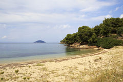 Wild picturesque sandy beach in the bay of the Aegean Sea. Stock Images