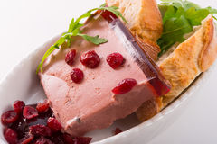 Wild pie with aspic and cranberry Royalty Free Stock Image