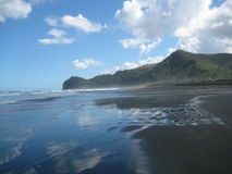 Wild Piha Beach. Waves on the wild Piha Beach, New Zealand Royalty Free Stock Photo