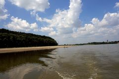 Wild places on the Danube arms. The beaches on the Borcea arm where the seagulls live stock images