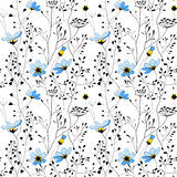 Wild plants and blue flower seamless pattern Royalty Free Stock Image
