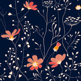 Wild plants and flower seamless pattern Stock Photo
