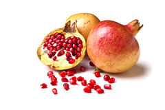 Wild pomegranate on white Stock Photos