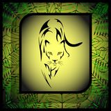 Wild predatory cat in the form of a tattoo in a frame, green abstract plants in the background vector illustration