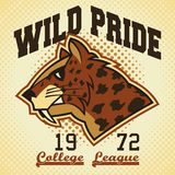 Wild pride sports mascot. College league t-shirt graphic Stock Images