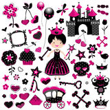 Wild princess set. Wild fashion style princess set with castle and other cute elements in black and pink Stock Image