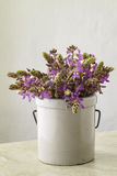 Wild-Purple.Flowers-In-Stoneware-Jar Stock Photo