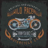 Wild racer vintage print with motorcycle,wings Stock Photos