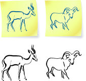 Wild ram and gazelle on post it notes Stock Photo