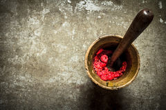 Wild raspberries in old mortar with pestle. Stock Image