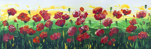 Wild red poppies panel. The horizontal  painted panel - wild blossoming red poppies on a meadow. Acrylic handmade art  illustration  on canvas Stock Photo
