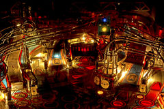 Wild retro Pinball Machine Interior Royalty Free Stock Image