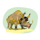 Wild Rhino men evolution Stock Images