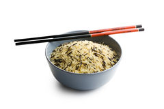 Wild rice in ceramic bowl Royalty Free Stock Photo