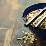 Wild rice in ceramic bowl Royalty Free Stock Photos