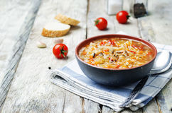 Wild rice chickpeas tomatoes cabbage soup Royalty Free Stock Image