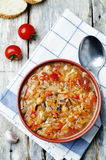 Wild rice chickpeas tomatoes cabbage soup Stock Images