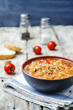 Wild rice chickpeas tomatoes cabbage soup Royalty Free Stock Photography