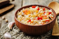 Wild rice chickpeas tomatoes cabbage soup. Toning. selective focus Stock Image