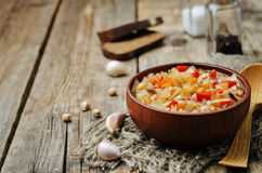 Wild rice chickpeas tomatoes cabbage soup. Toning. selective focus Royalty Free Stock Photography