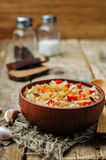 Wild rice chickpeas tomatoes cabbage soup. Toning. selective focus Stock Photography