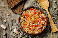 Wild rice chickpeas tomatoes cabbage soup. Toning. selective focus Royalty Free Stock Photo