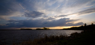 Wild Rice Lake Sky. With storm clouds in northern Minnesota Royalty Free Stock Photos