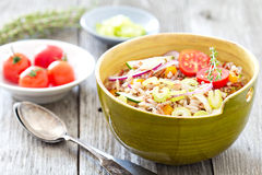 Wild rice salad with vegetables Stock Photo