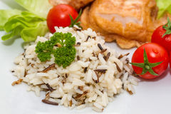 Wild rice with salmon Stock Photography