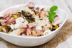 Wild rice with seafood Royalty Free Stock Images