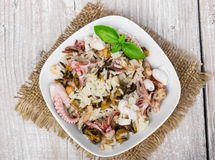 Wild rice with seafood Stock Images