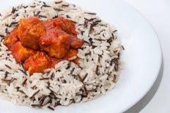Wild rice with tuna and tomato sauce Royalty Free Stock Photos