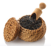 Wild rice in a wicker basket Stock Photography