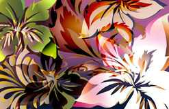 Wild ride. Exotic animal like tropical jungle floral print with layered shadows and color highlights Stock Photo