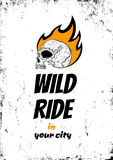 Wild ride. Illustration of a skull in fire Stock Photography