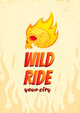 Wild ride. Illustration of a skull in fire Royalty Free Stock Photo