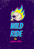 Wild ride. Illustration of a skull in fire Stock Image
